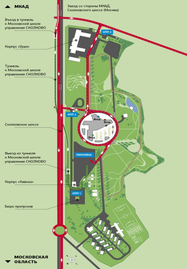 skolkovo map campus tunnel rus